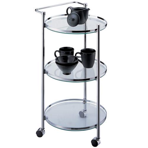 Chrome Circular Serving Cart with Glass Shelves