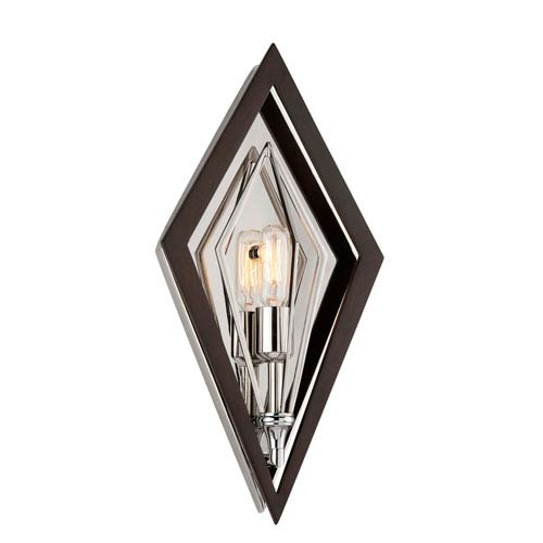 Javelin Bronze and Polished Stainless Steel One-Light Wall Sconce