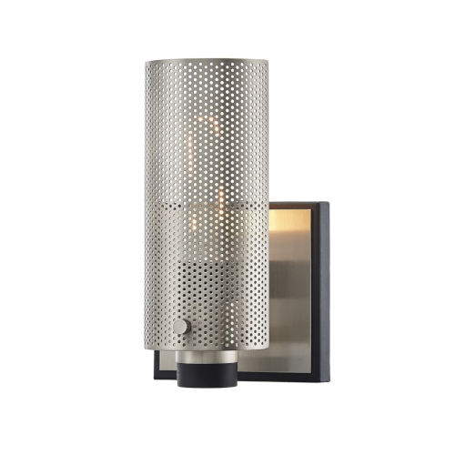 Pilsen Carbide Black with Satin Nickel One-Light Wall Sconce
