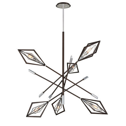 Troy Javelin Bronze and Polished Stainless Steel Six-Light Pendant