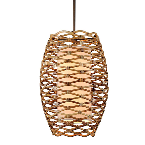 Balboa Bronze Natural 21-Inch Six-Light Pendant with Linen Shade