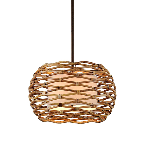 Balboa Bronze Natural 28-Inch Six-Light Pendant with Linen Shade