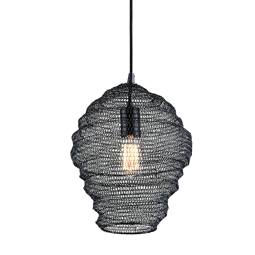 Wabi Sabi Black 13-Inch Pendant with Iron Mesh