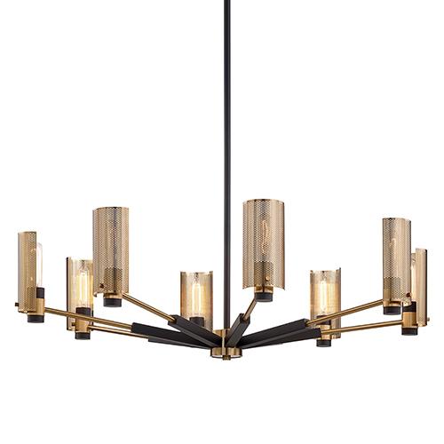 Pilsen Modern Bronze And Aged Brass Eight-Light Chandelier