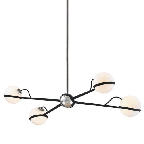 Ace Carbide Black with Polished Nickel Four-Light Chandelier