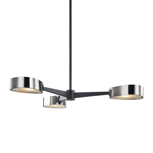 Allisio Carbide Black and Black Chrome Three-Light Chandelier