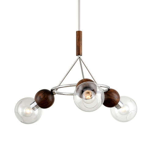 Arlo Polished Stainless Steel and Natural Acacia Three-Light Chandelier
