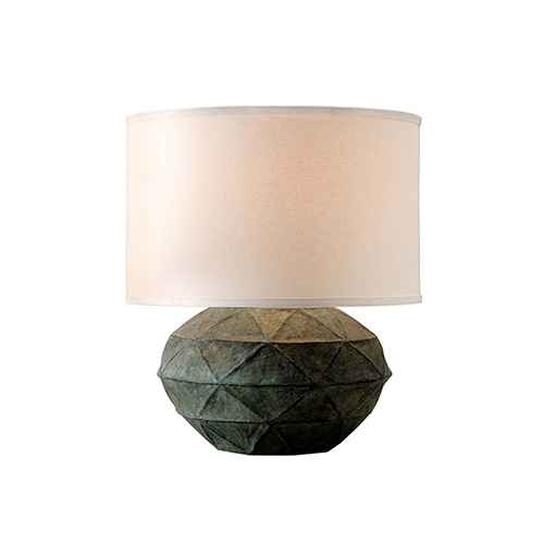 Patina Verde Table Lamp with Linen shade