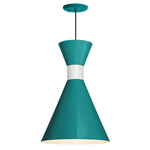 Mid Century Tahitian Teal and Semi Gloss White 10-Inch One-Light Pendant