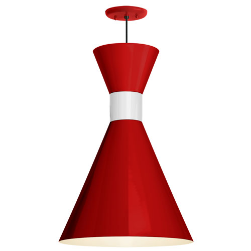 Mid Century Red and Gloss White 12-Inch One-Light Pendant