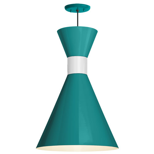 Mid Century Tahitian Teal and Semi Gloss White 12-Inch One-Light Pendant