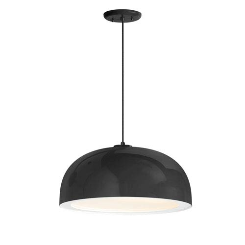 Dome Black One-Light 14-Inch Outdoor Pendant