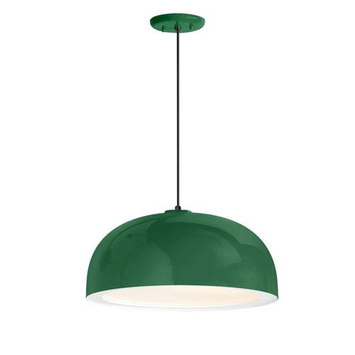 Dome Hunter Green One-Light 14-Inch Outdoor Pendant