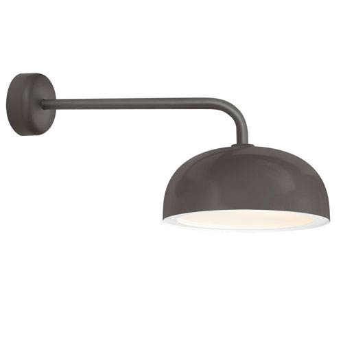 Dome Textured Bronze One-Light 14-Inch Outdoor Wall Sconce with 18-Inch Arm