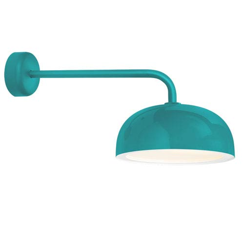 Troy RLM Lighting Dome Tahitian Teal One-Light 14-Inch Outdoor Wall Sconce with 18-Inch Arm