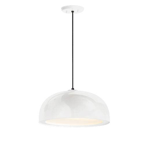 Dome Gloss White One-Light 14-Inch Outdoor Pendant
