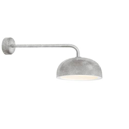 Dome Galvanized One-Light 16-Inch Outdoor Wall Sconce with 30-Inch Arm