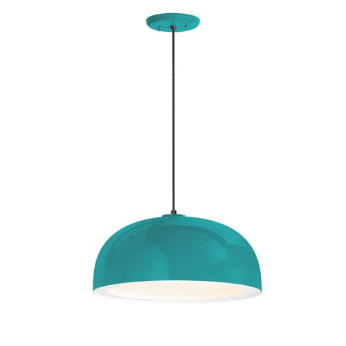 Dome Tahitian Teal One-Light 16-Inch Outdoor Pendant