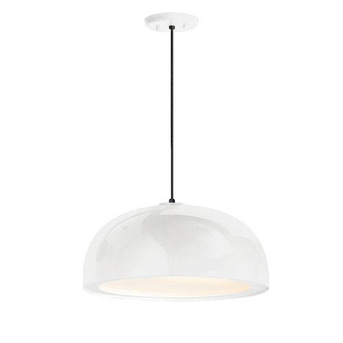 Dome Gloss White One-Light 16-Inch Outdoor Pendant