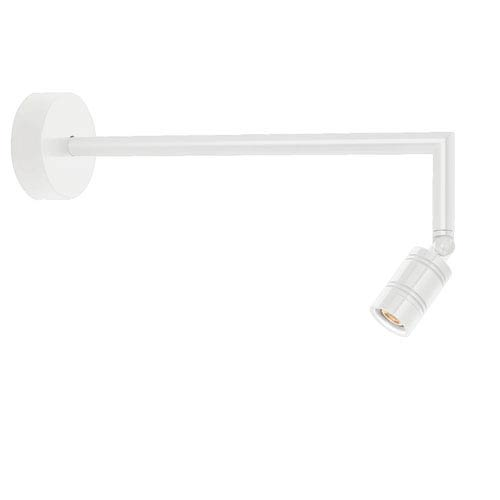 Bullet Head Gloss White LED Outdoor Miter Arm Wall Sconce