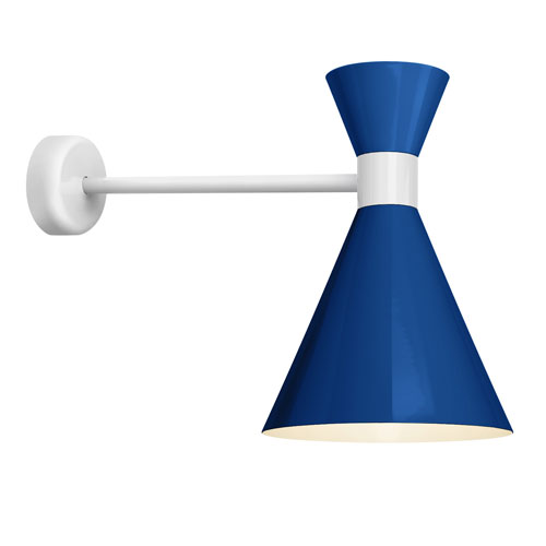 Mid Century Blue and Gloss White 10-Inch One-Light Wall Mount