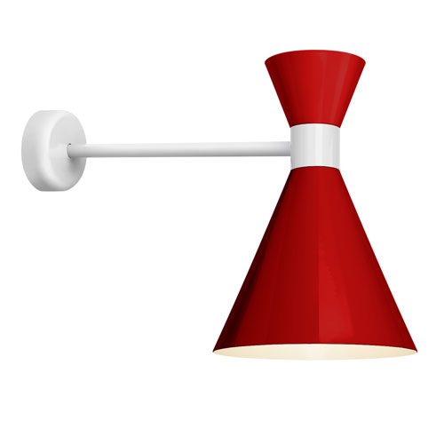 Troy RLM Lighting Mid Century Red and Gloss White 10-Inch One-Light Wall Mount