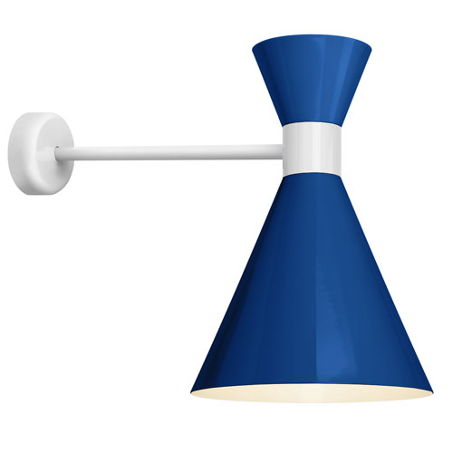 Mid Century Blue and Gloss White 12-Inch One-Light Wall Mount