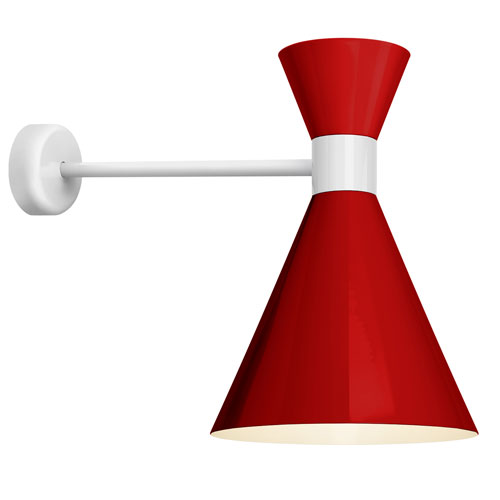 Troy RLM Lighting Mid Century Red and Gloss White 12-Inch One-Light Wall Mount