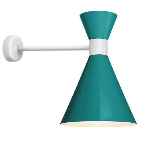 Troy RLM Lighting Mid Century Tahitian Teal and Semi Gloss White 12-Inch One-Light Wall Mount