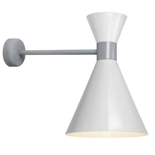 Troy RLM Lighting Mid Century Gloss White and Flannel Cray 12-Inch One-Light Wall Mount