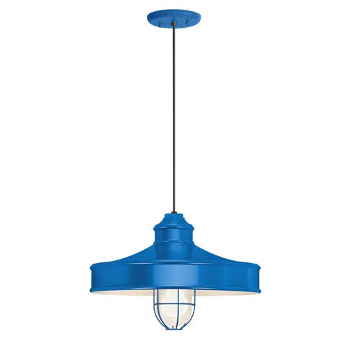 Troy RLM Lighting Nostalgia Blue One-Light 14-Inch Outdoor Pendant