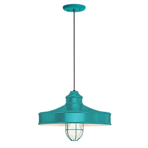 Nostalgia Tahitian Teal One-Light 14-Inch Outdoor Pendant
