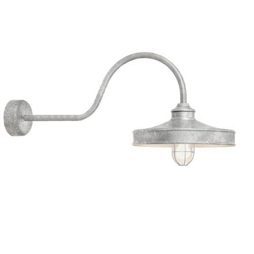 Troy RLM Lighting Nostalgia Galvanized One-Light 14-Inch Outdoor Wall Sconce with 30-Inch Arm