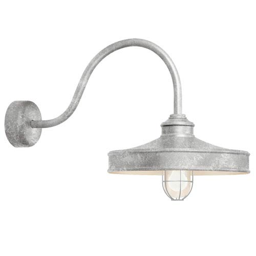 Galvanized arm outdoor lighting bellacor troy rlm lighting nostalgia galvanized one light 14 inch outdoor wall sconce with 23 aloadofball Images