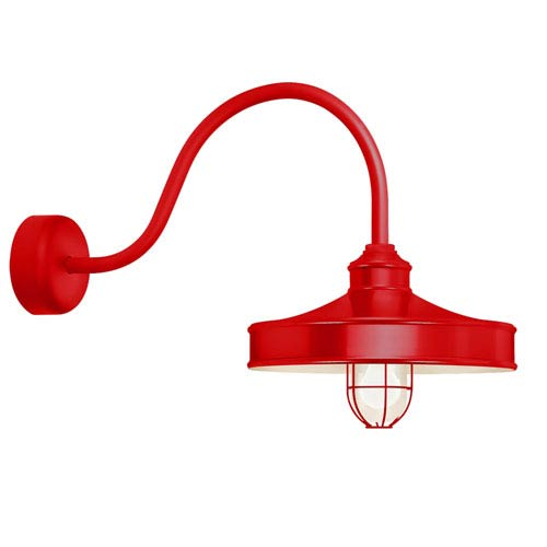 Nostalgia Red One-Light 14-Inch Outdoor Wall Sconce with 23-Inch Arm