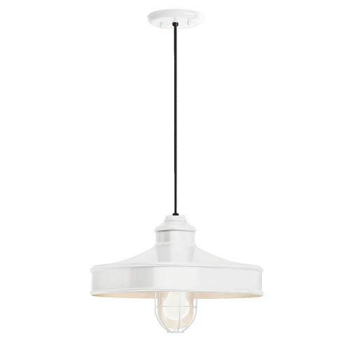 Troy RLM Lighting Nostalgia Gloss White One-Light 14-Inch Outdoor Pendant