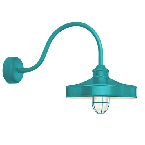 Troy RLM Lighting Nostalgia Tahitian Teal One-Light 14-Inch Outdoor Wall Sconce with 23-Inch Arm