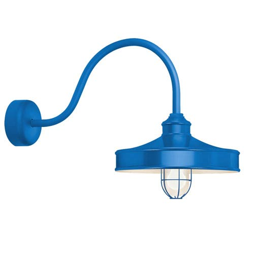 Nostalgia Blue One-Light 16-Inch Outdoor Wall Sconce with 30-Inch Arm
