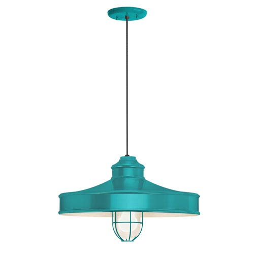 Nostalgia Tahitian Teal One-Light 16-Inch Outdoor Pendant