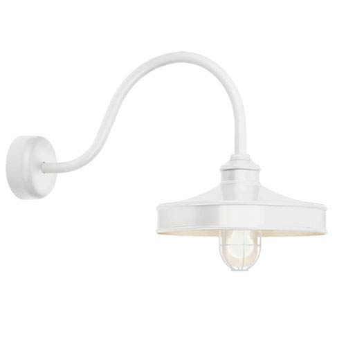 Troy RLM Lighting Nostalgia Gloss White One-Light 16-Inch Outdoor Wall Sconce with 30-Inch Arm