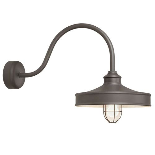 Troy RLM Lighting Nostalgia Textured Bronze One-Light 16-Inch Outdoor Wall Sconce with 23-Inch Arm