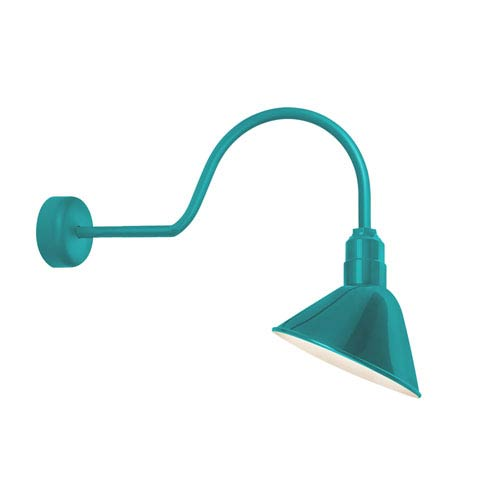 Angle Reflector Tahitian Teal One-Light 10-Inch Outdoor Wall Sconce with 30-Inch Arm