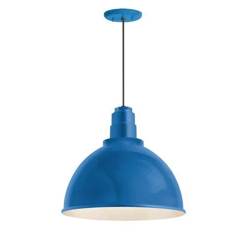 Deep Reflector Blue One-Light 12-Inch Outdoor Pendant