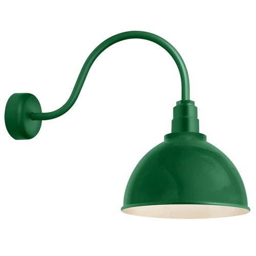 Deep Reflector Hunter Green One-Light 12-Inch Outdoor Wall Sconce with 23-Inch Arm