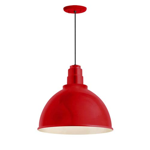 Deep Reflector Red One-Light 12-Inch Outdoor Pendant