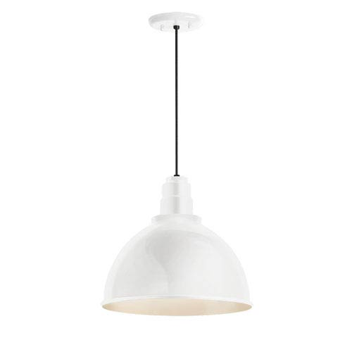 Deep Reflector Gloss White 12-Inch One-Light Outdoor Pendant