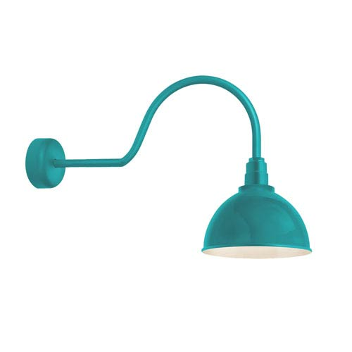 Deep Reflector Tahitian Teal One-Light 12-Inch Outdoor Wall Sconce with 30-Inch Arm