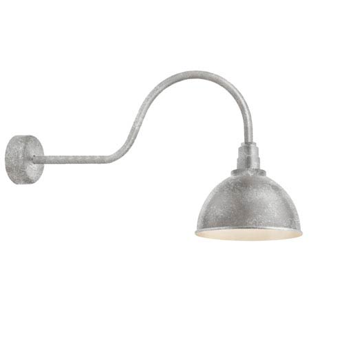 Deep Reflector Galvanized 16-Inch One-Light Outdoor Wall Sconce with 30-Inch Arm