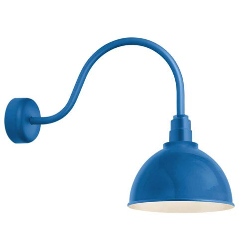 Troy RLM Lighting Deep Reflector Blue One-Light 16-Inch Outdoor Wall Sconce with 23-Inch Arm