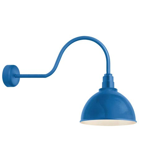 Deep Reflector Blue One-Light 16-Inch Outdoor Wall Sconce with 30-Inch Arm